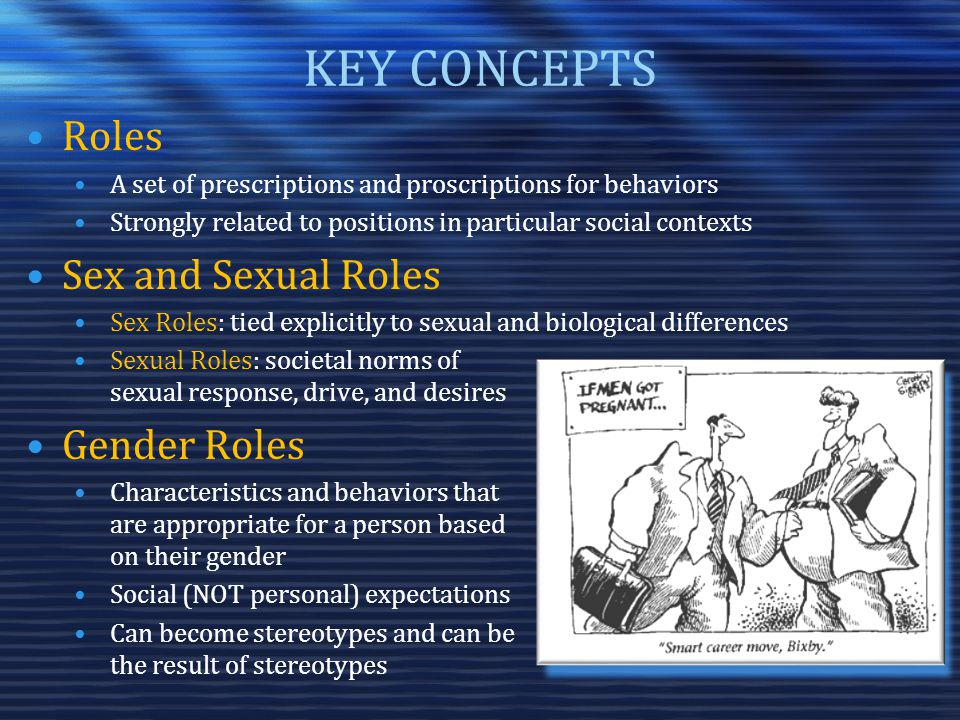KEY CONCEPTS Roles A set of prescriptions and proscriptions for behaviors Strongly related to positions in particular social contexts Sex and Sexual Roles Sex Roles: tied explicitly to sexual and biological differences Sexual Roles: societal norms of sexual response, drive, and desires Gender Roles Characteristics and behaviors that are appropriate for a person based on their gender Social (NOT personal) expectations Can become stereotypes and can be the result of stereotypes