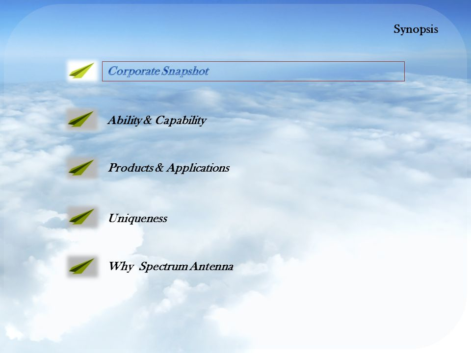 Ability & Capability Products & Applications Uniqueness Why Spectrum Antenna Synopsis