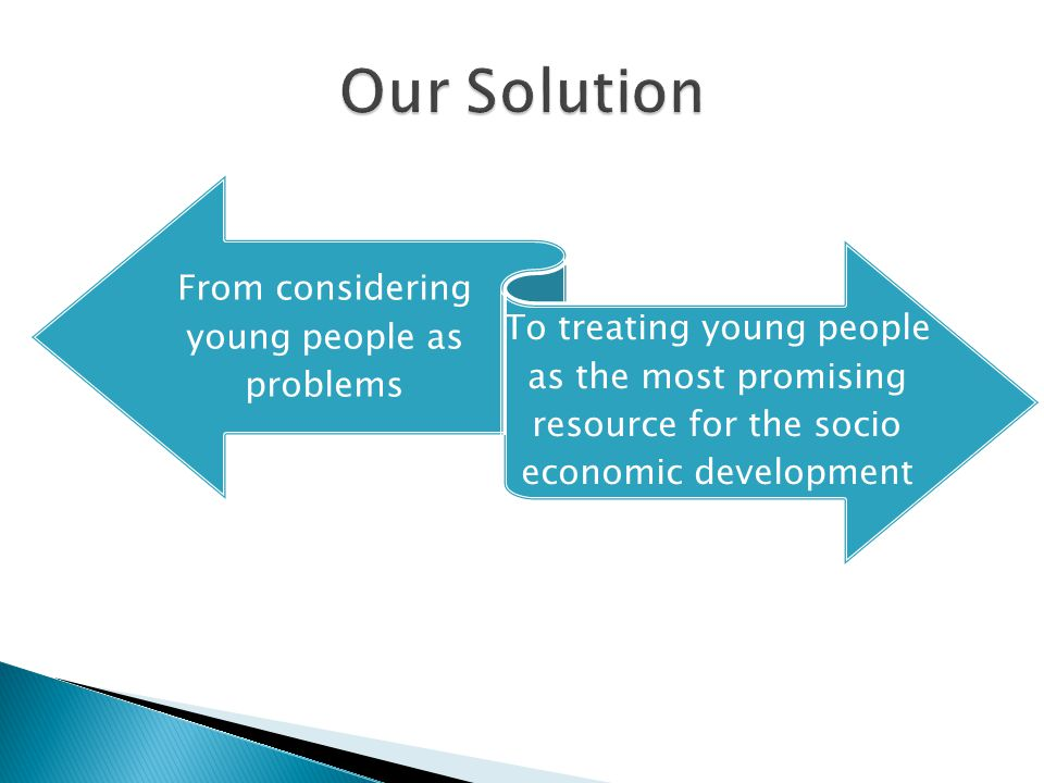 From considering young people as problems To treating young people as the most promising resource for the socio economic development of the country