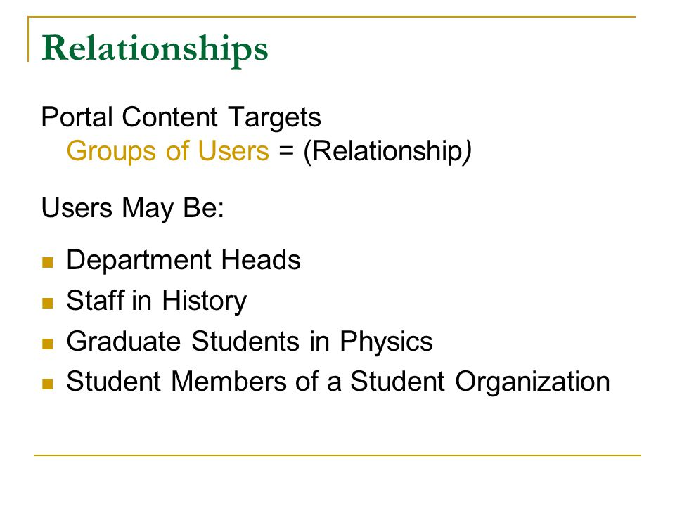 Relationships Portal Content Targets Groups of Users = (Relationship) Users May Be: Department Heads Staff in History Graduate Students in Physics Student Members of a Student Organization