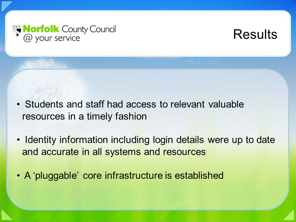 Results Students and staff had access to relevant valuable resources in a timely fashion Identity information including login details were up to date and accurate in all systems and resources A 'pluggable' core infrastructure is established