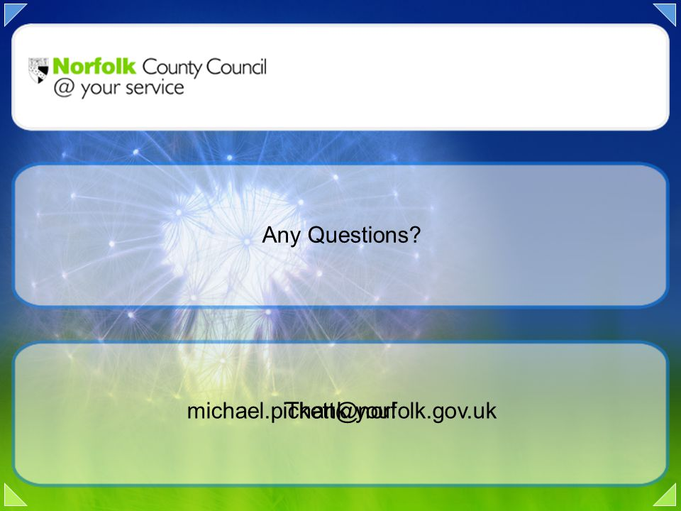 Any Questions Thank you! michael.pickett@norfolk.gov.uk