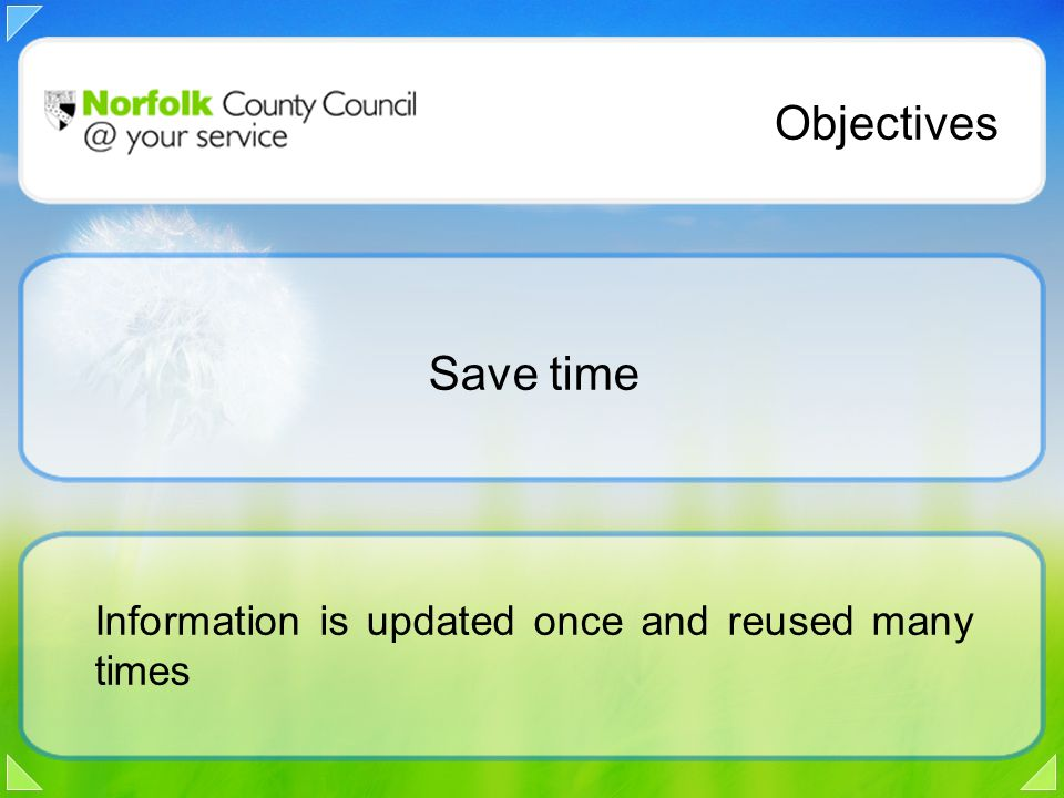 Information is updated once and reused many times Objectives Save time