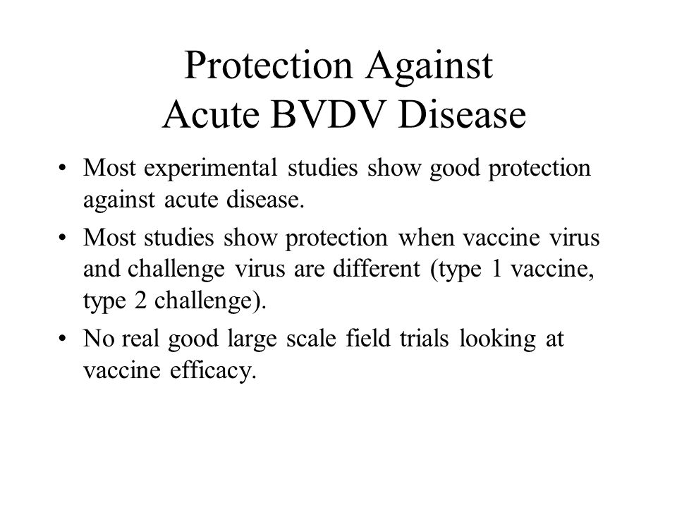 Protection Against Acute BVDV Disease Most experimental studies show good protection against acute disease.