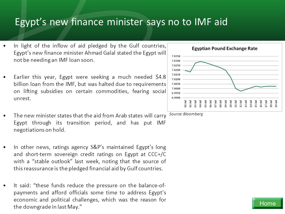 29 Egypt's new finance minister says no to IMF aid In light of the inflow of aid pledged by the Gulf countries, Egypt's new finance minister Ahmad Galal stated the Egypt will not be needing an IMF loan soon.