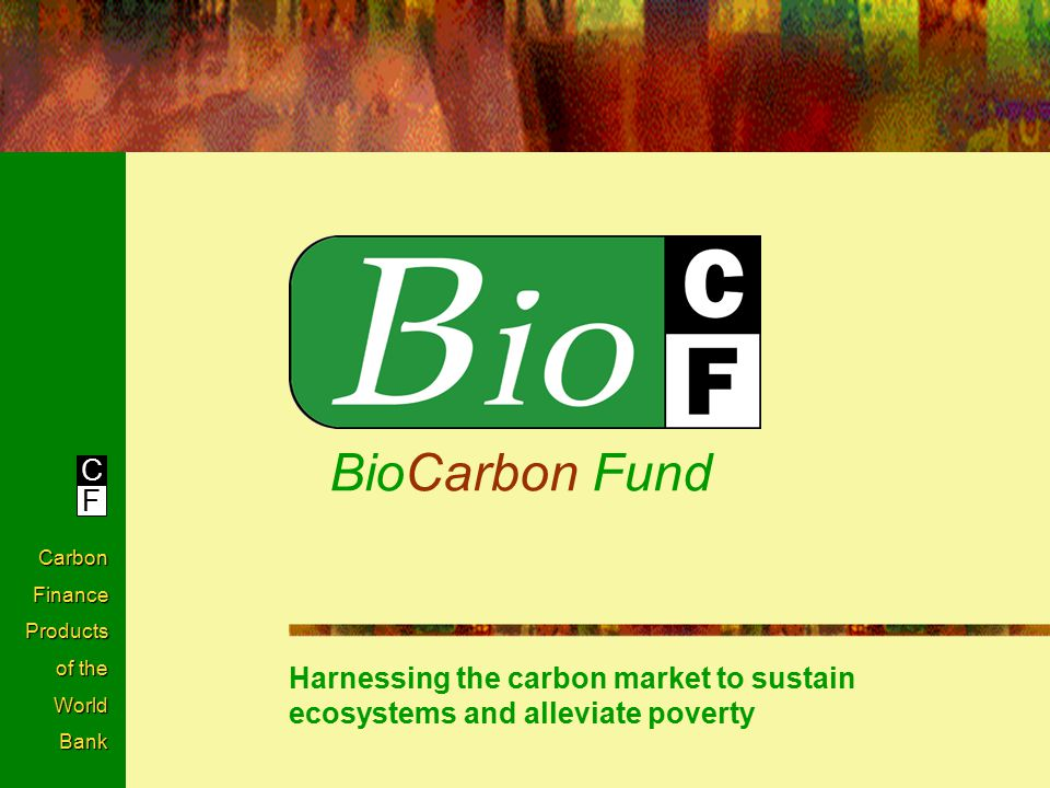 C F Carbon Finance Products of the World Bank BioCarbon Fund Harnessing the carbon market to sustain ecosystems and alleviate poverty