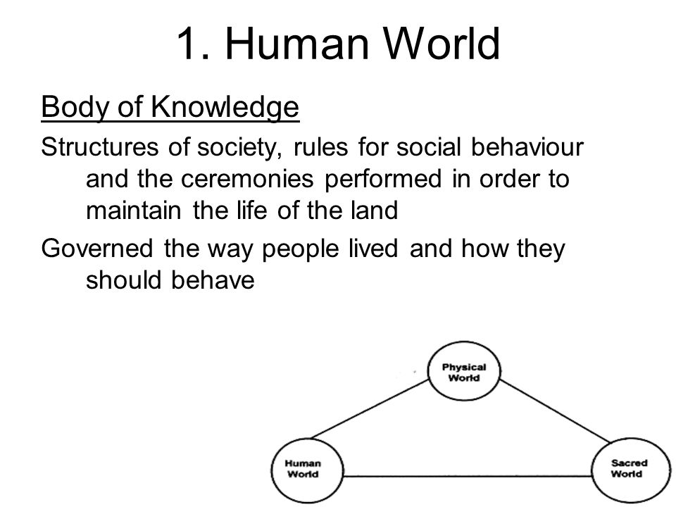 1. Human World Body of Knowledge Structures of society, rules for social behaviour and the ceremonies performed in order to maintain the life of the l