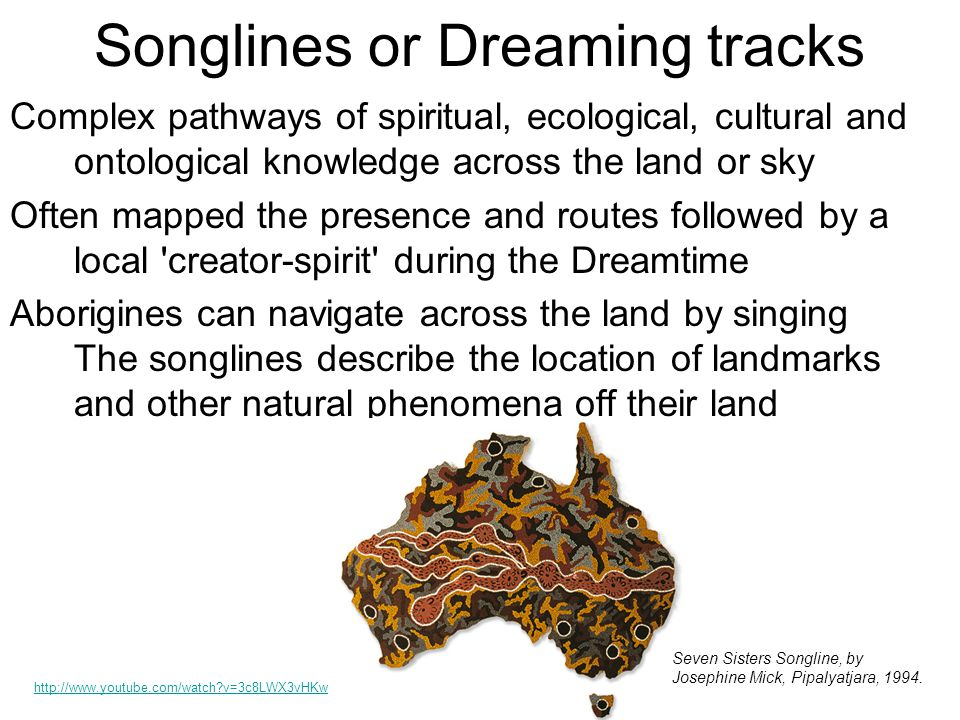 Songlines or Dreaming tracks Complex pathways of spiritual, ecological, cultural and ontological knowledge across the land or sky Often mapped the presence and routes followed by a local creator-spirit during the Dreamtime Aborigines can navigate across the land by singing The songlines describe the location of landmarks and other natural phenomena off their land http://www.youtube.com/watch v=3c8LWX3vHKw Seven Sisters Songline, by Josephine Mick, Pipalyatjara, 1994.