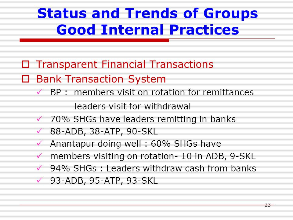 23 Status and Trends of Groups Good Internal Practices  Transparent Financial Transactions  Bank Transaction System BP : members visit on rotation f