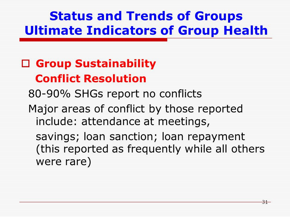 31 Status and Trends of Groups Ultimate Indicators of Group Health  Group Sustainability Conflict Resolution 80-90% SHGs report no conflicts Major ar