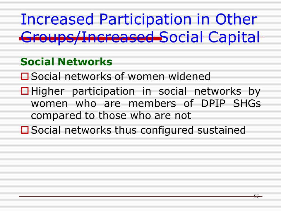 52 Increased Participation in Other Groups/Increased Social Capital Social Networks  Social networks of women widened  Higher participation in socia