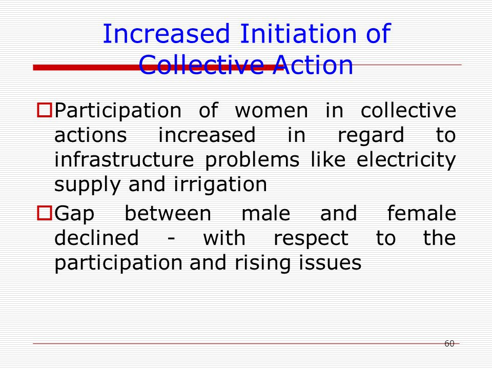 60 Increased Initiation of Collective Action  Participation of women in collective actions increased in regard to infrastructure problems like electricity supply and irrigation  Gap between male and female declined - with respect to the participation and rising issues