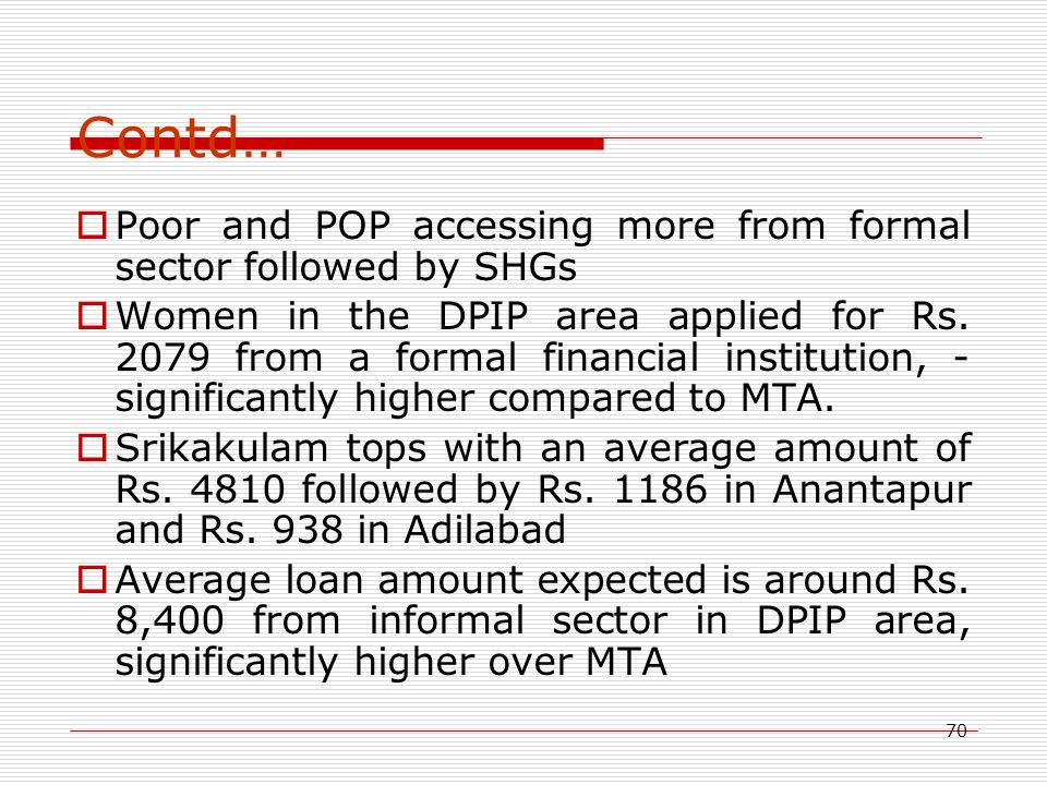 70 Contd…  Poor and POP accessing more from formal sector followed by SHGs  Women in the DPIP area applied for Rs. 2079 from a formal financial inst