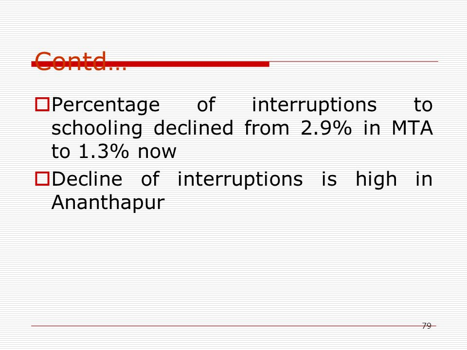 79 Contd…  Percentage of interruptions to schooling declined from 2.9% in MTA to 1.3% now  Decline of interruptions is high in Ananthapur