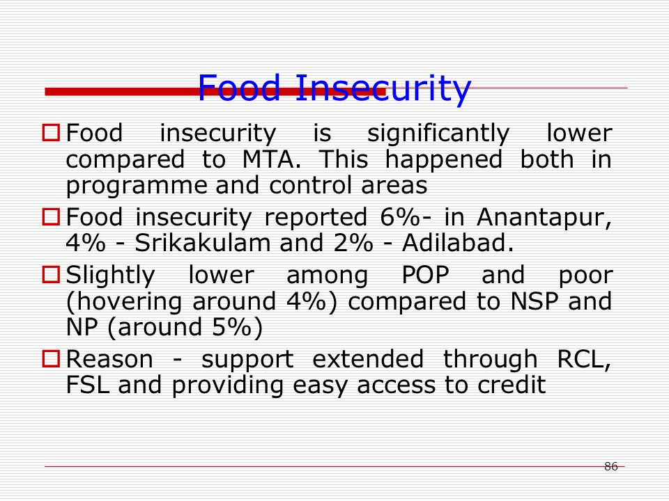86 Food Insecurity  Food insecurity is significantly lower compared to MTA. This happened both in programme and control areas  Food insecurity repor
