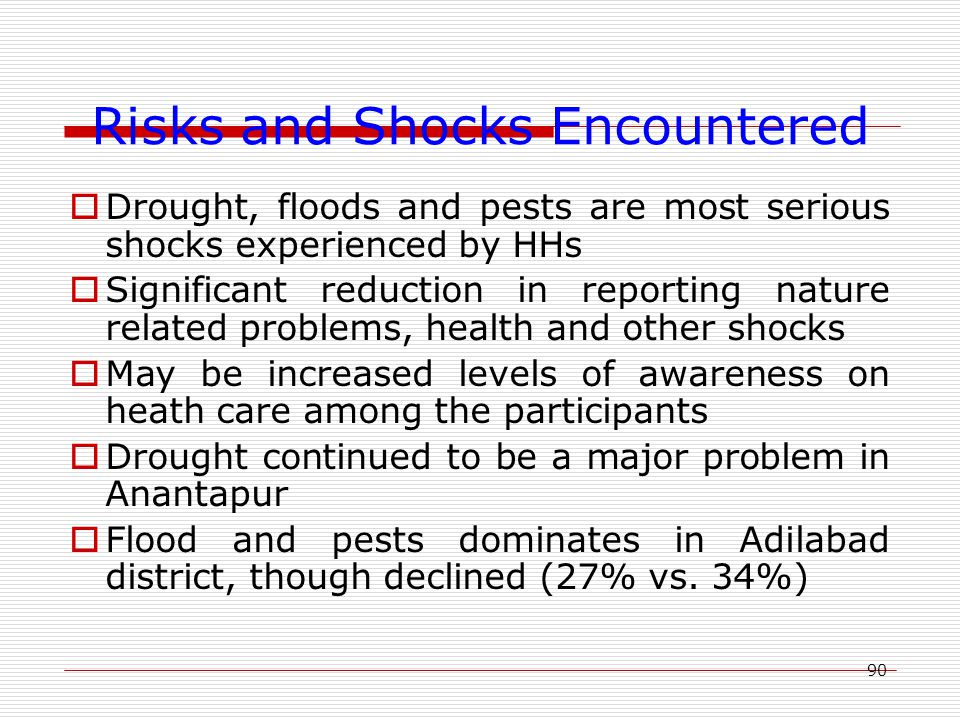 90 Risks and Shocks Encountered  Drought, floods and pests are most serious shocks experienced by HHs  Significant reduction in reporting nature related problems, health and other shocks  May be increased levels of awareness on heath care among the participants  Drought continued to be a major problem in Anantapur  Flood and pests dominates in Adilabad district, though declined (27% vs.