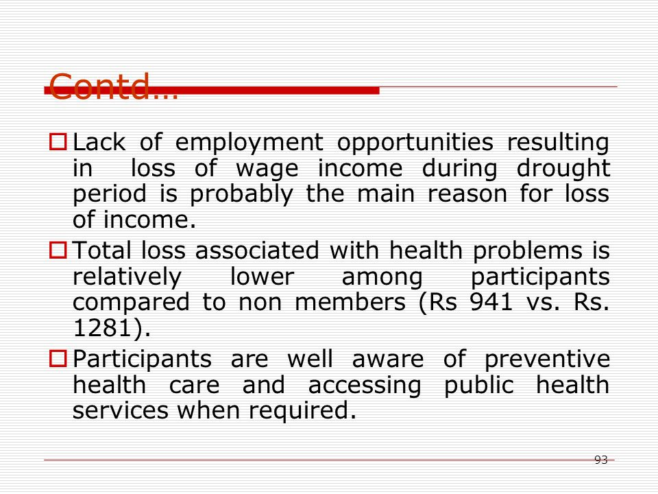 93 Contd…  Lack of employment opportunities resulting in loss of wage income during drought period is probably the main reason for loss of income. 
