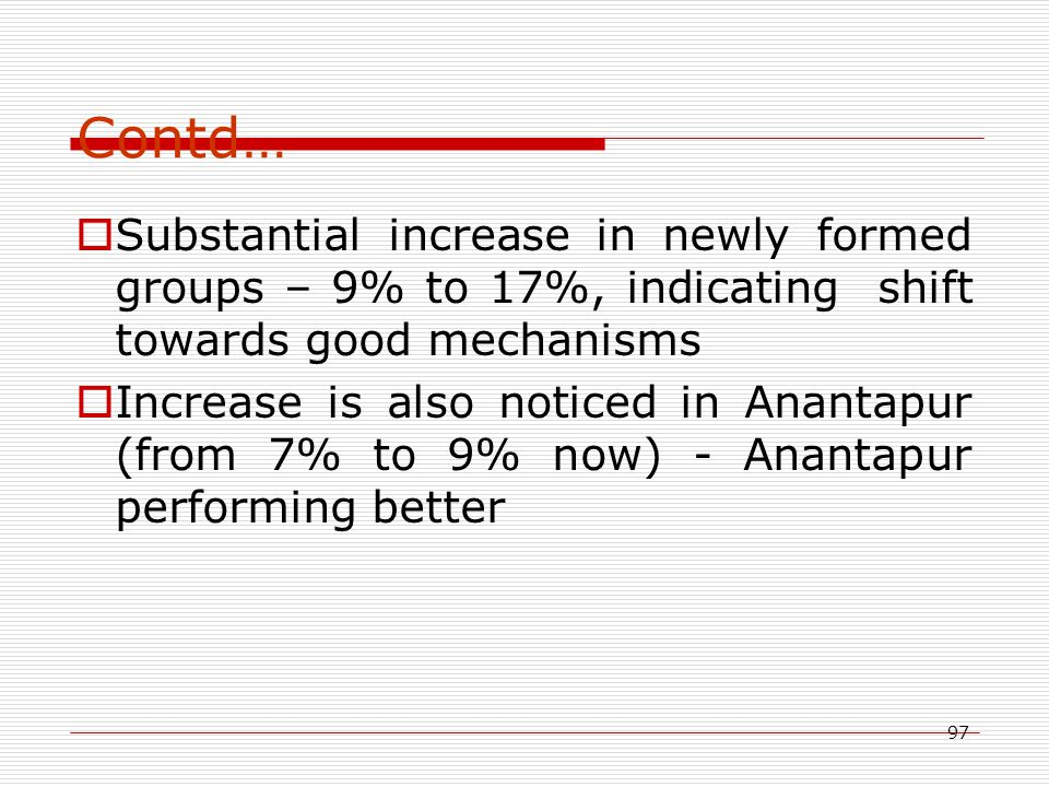 97 Contd…  Substantial increase in newly formed groups – 9% to 17%, indicating shift towards good mechanisms  Increase is also noticed in Anantapur