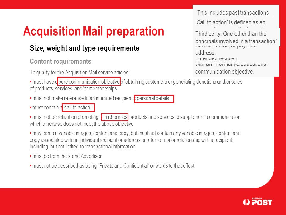 Acquisition Mail preparation Size, weight and type requirements Content requirements To qualify for the Acquisition Mail service articles: must have a