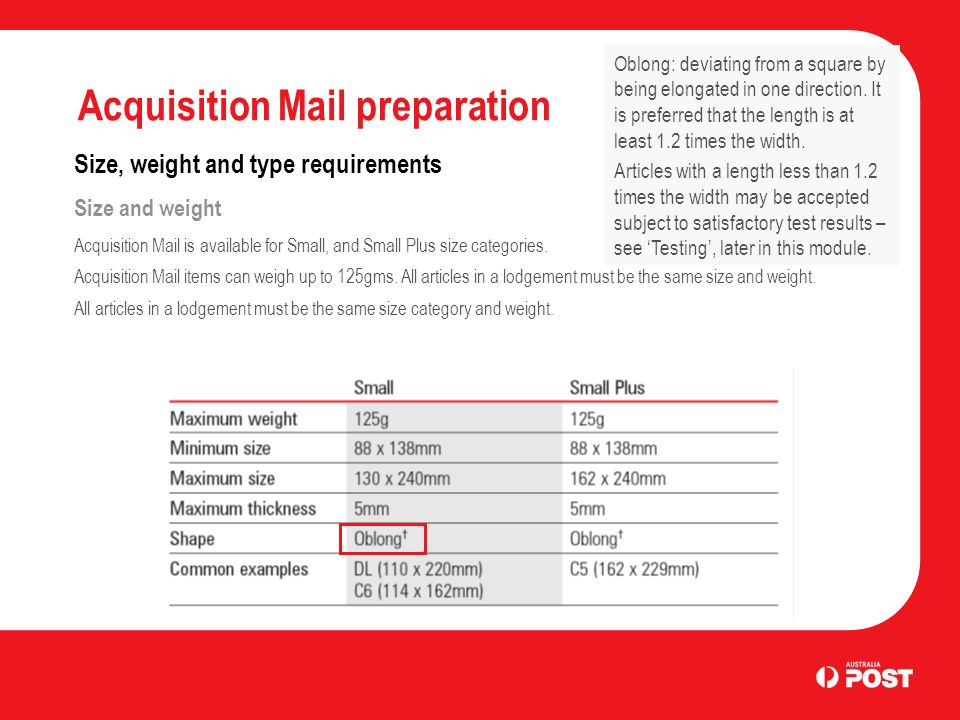 Acquisition Mail preparation Size, weight and type requirements Size and weight Acquisition Mail is available for Small, and Small Plus size categorie