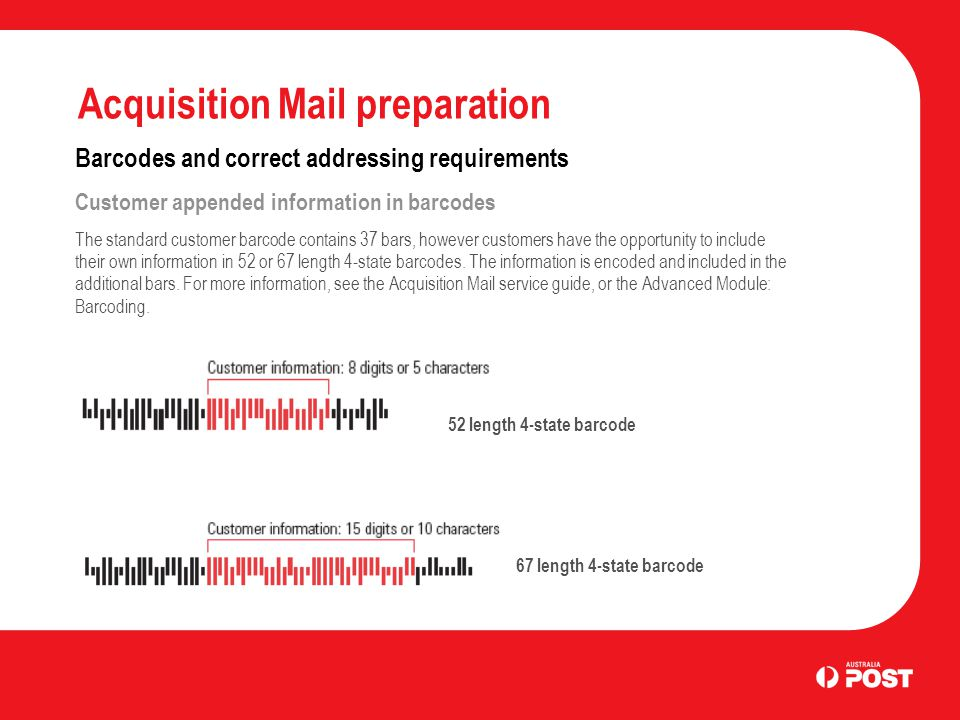 Acquisition Mail preparation Barcodes and correct addressing requirements Customer appended information in barcodes The standard customer barcode cont