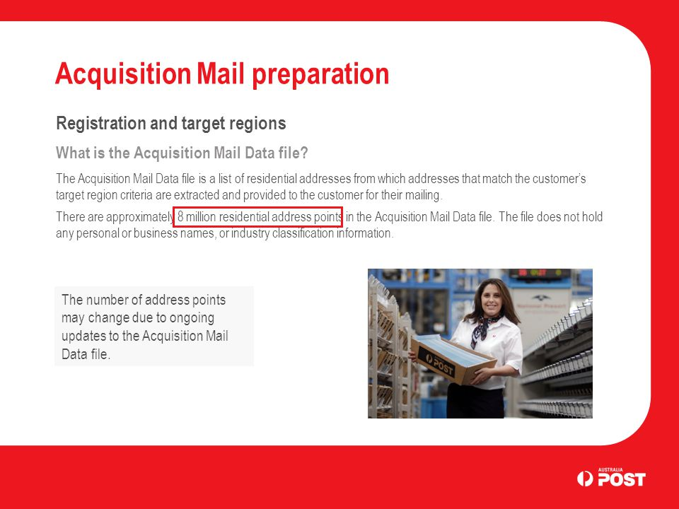 Acquisition Mail preparation Registration and target regions What is the Acquisition Mail Data file.