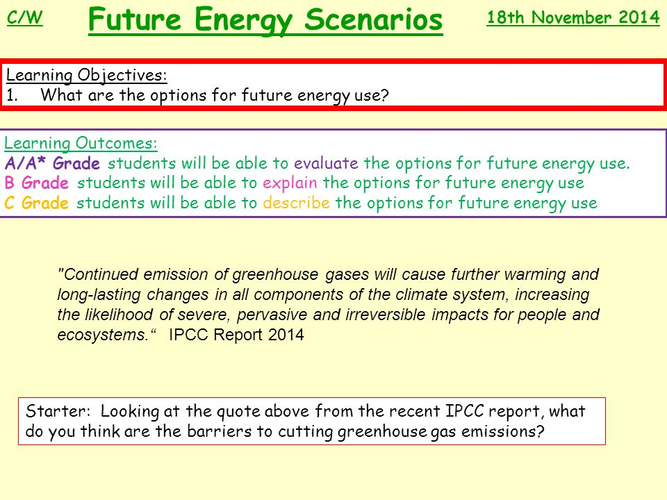 Future Energy Scenarios Learning Objectives: 1.What are the options for future energy use.