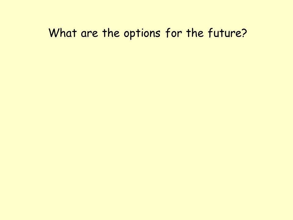 What are the options for the future