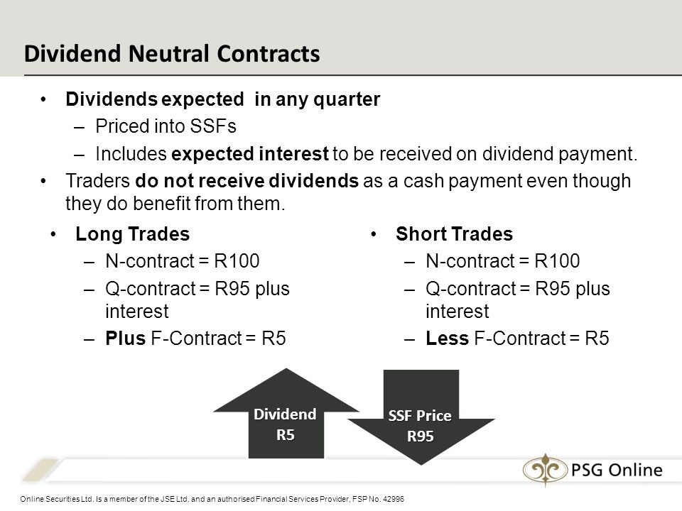 Online Securities Ltd. Is a member of the JSE Ltd. and an authorised Financial Services Provider, FSP No. 42996 Dividend Neutral Contracts Dividends e