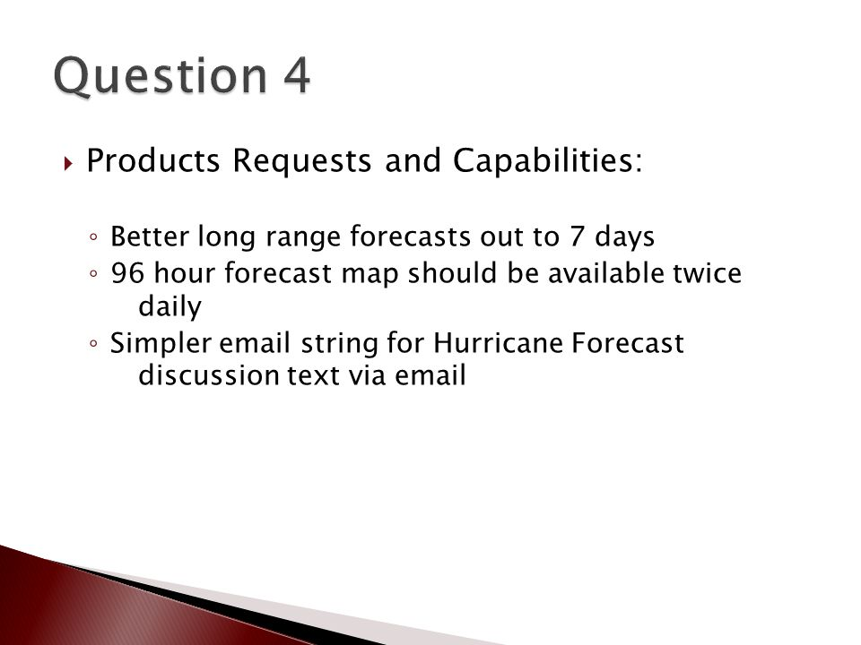  Products Requests and Capabilities: ◦ Better long range forecasts out to 7 days ◦ 96 hour forecast map should be available twice daily ◦ Simpler email string for Hurricane Forecast discussion text via email