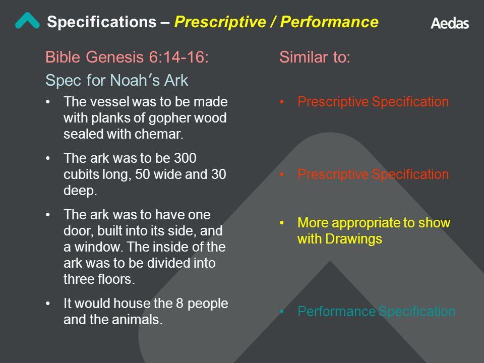 Similar to: Prescriptive Specification More appropriate to show with Drawings Performance Specification Specifications – Prescriptive / Performance Bible Genesis 6:14-16: Spec for Noah ' s Ark The vessel was to be made with planks of gopher wood sealed with chemar.