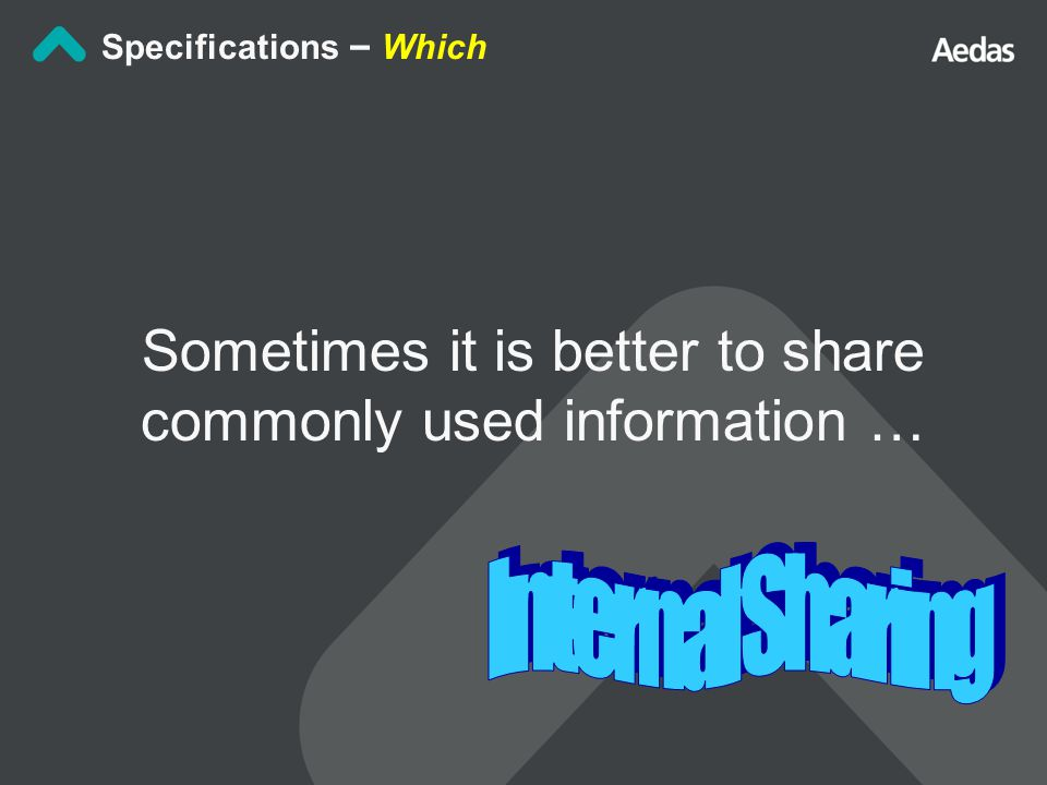 Sometimes it is better to share commonly used information … Specifications – Which