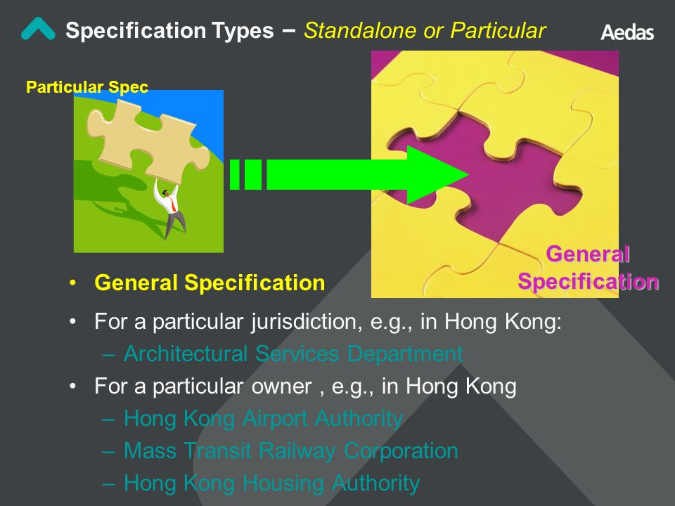 General Specification For a particular jurisdiction, e.g., in Hong Kong: –Architectural Services Department For a particular owner, e.g., in Hong Kong –Hong Kong Airport Authority –Mass Transit Railway Corporation –Hong Kong Housing Authority Specification Types – Standalone or Particular Particular Spec General Specification