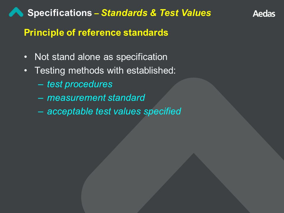 Specifications – Standards & Test Values Principle of reference standards Not stand alone as specification Testing methods with established: –test procedures –measurement standard –acceptable test values specified