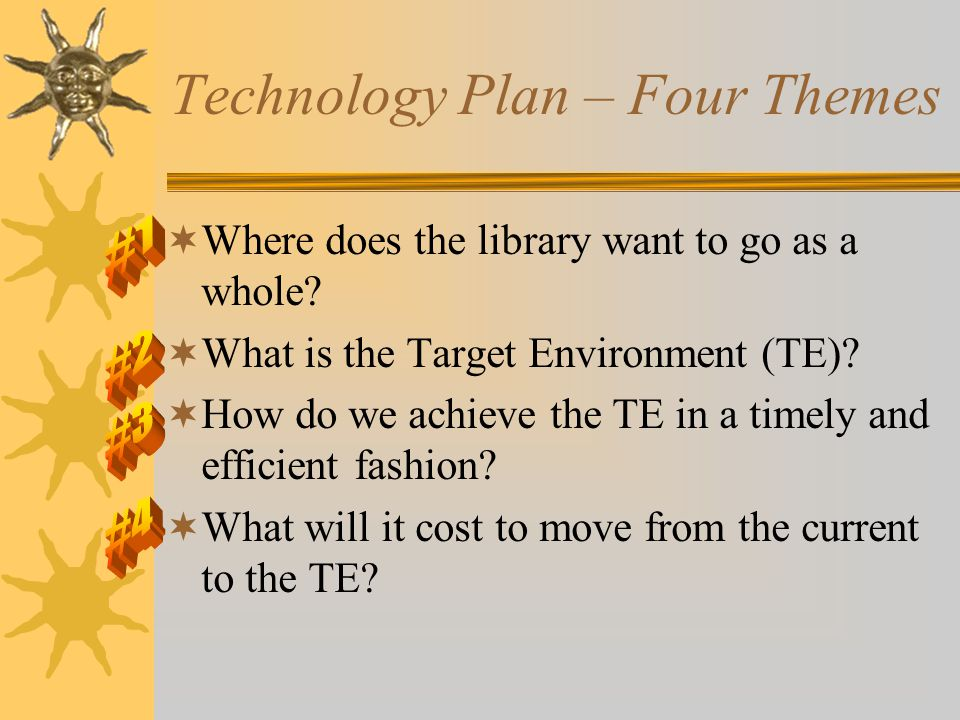 Technology Plan – Four Themes  Where does the library want to go as a whole.