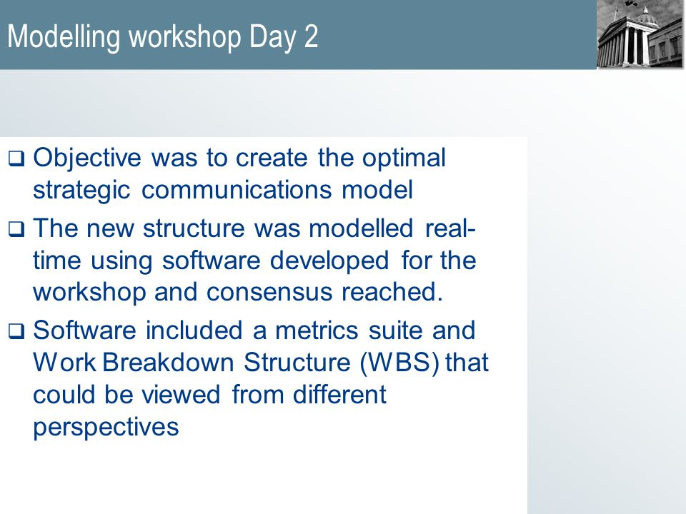 Modelling workshop Day 2  Objective was to create the optimal strategic communications model  The new structure was modelled real- time using software developed for the workshop and consensus reached.