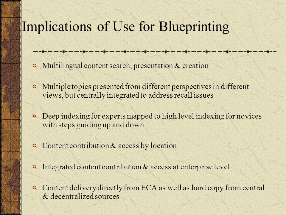 Implications of Use for Blueprinting Multilingual content search, presentation & creation Multiple topics presented from different perspectives in different views, but centrally integrated to address recall issues Deep indexing for experts mapped to high level indexing for novices with steps guiding up and down Content contribution & access by location Integrated content contribution & access at enterprise level Content delivery directly from ECA as well as hard copy from central & decentralized sources