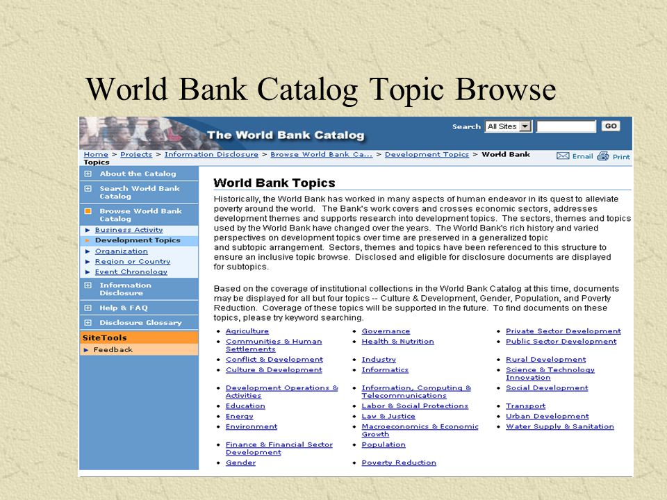 World Bank Catalog Business Activity Browse