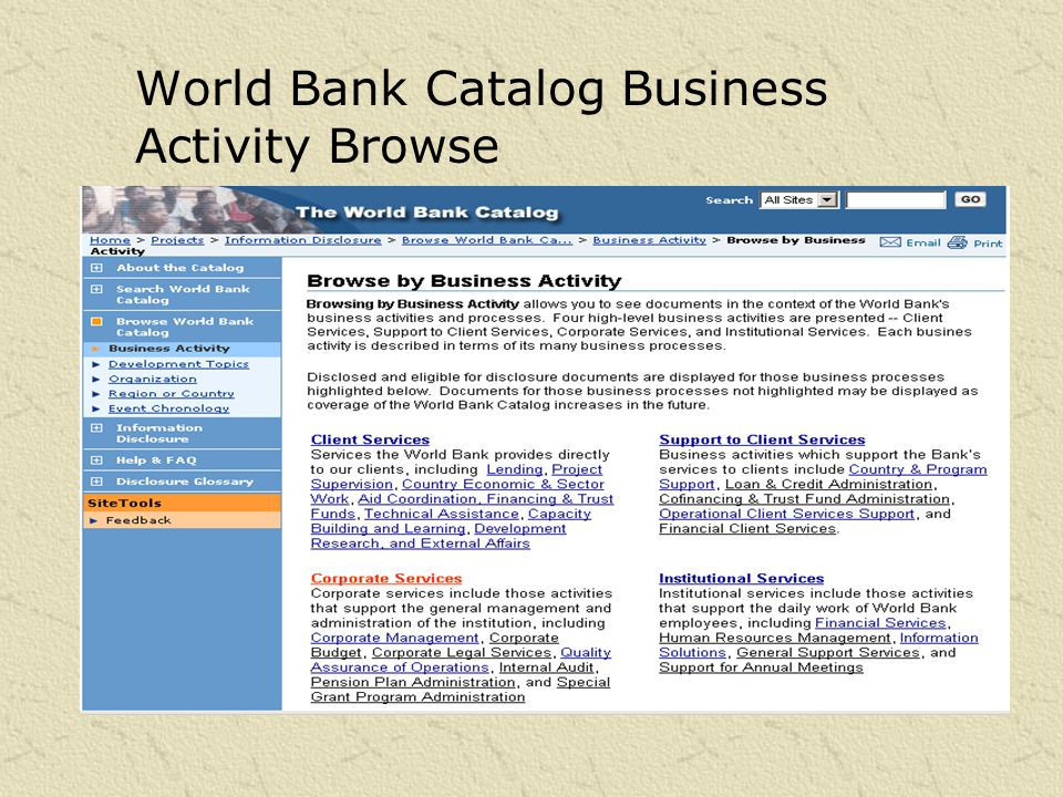 World Bank Catalog Country-Region Browse