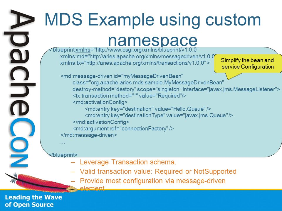 Blueprint advanced features lin sun apache aries and geronimo mds example using custom namespace leverage transaction schema malvernweather Gallery
