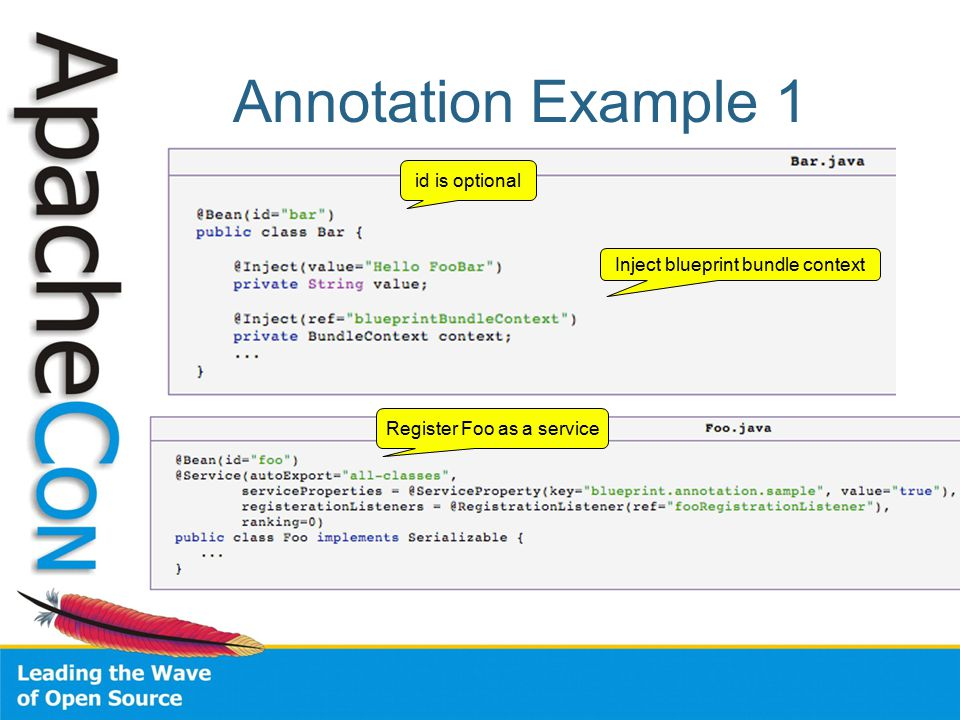 Annotation Example 1 id is optional Inject blueprint bundle context Register Foo as a service