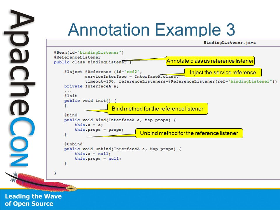 Annotation Example 3 Annotate class as reference listener Inject the service reference Bind method for the reference listener Unbind method for the reference listener