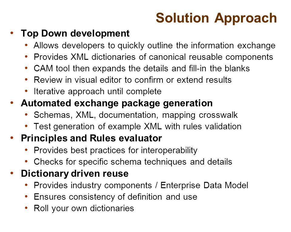 34 Generating Exchange Artifacts Dictionary crosswalk mapping Exchange Schema XML instances Business rules documentation