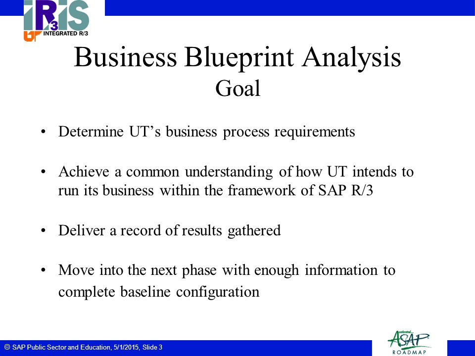  SAP Public Sector and Education, 5/1/2015, Slide 4 Business Blueprint Analysis Tools Business Process Questions (by process) –Standard questions regarding UT's organizational structure, processes and business needs Detailed Workshops –Meetings with key users to discuss business processes and business needs Customer Input Templates –high level summary of Processes Business Process Transaction –Business Process Master List (BPML)