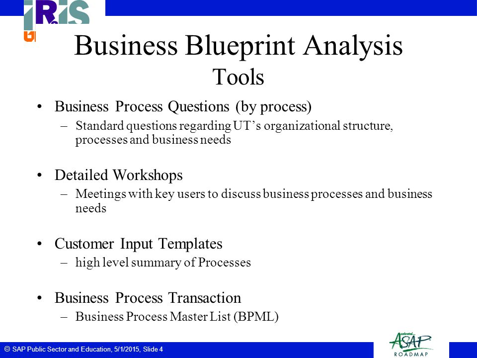  SAP Public Sector and Education, 5/1/2015, Slide 4 Business Blueprint Analysis Tools Business Process Questions (by process) –Standard questions reg