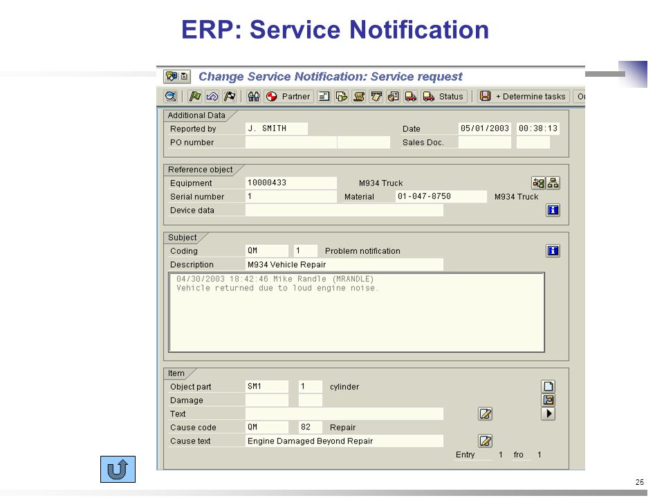25 ERP: Service Notification