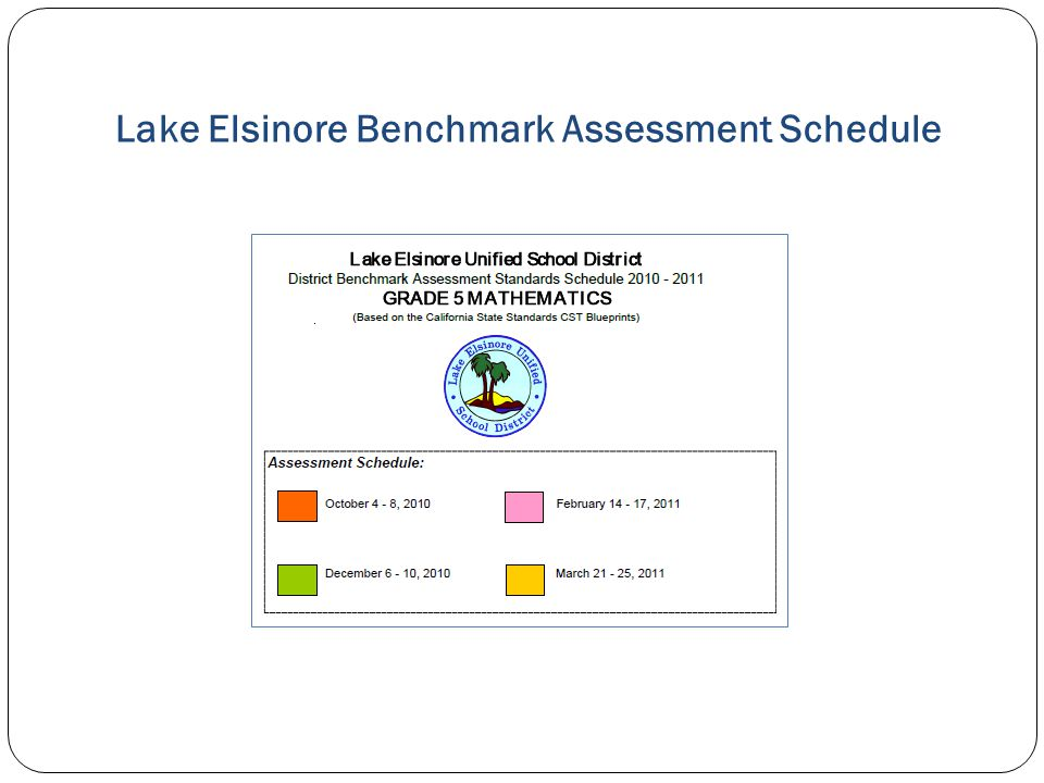 Lake Elsinore Benchmark Assessment Schedule