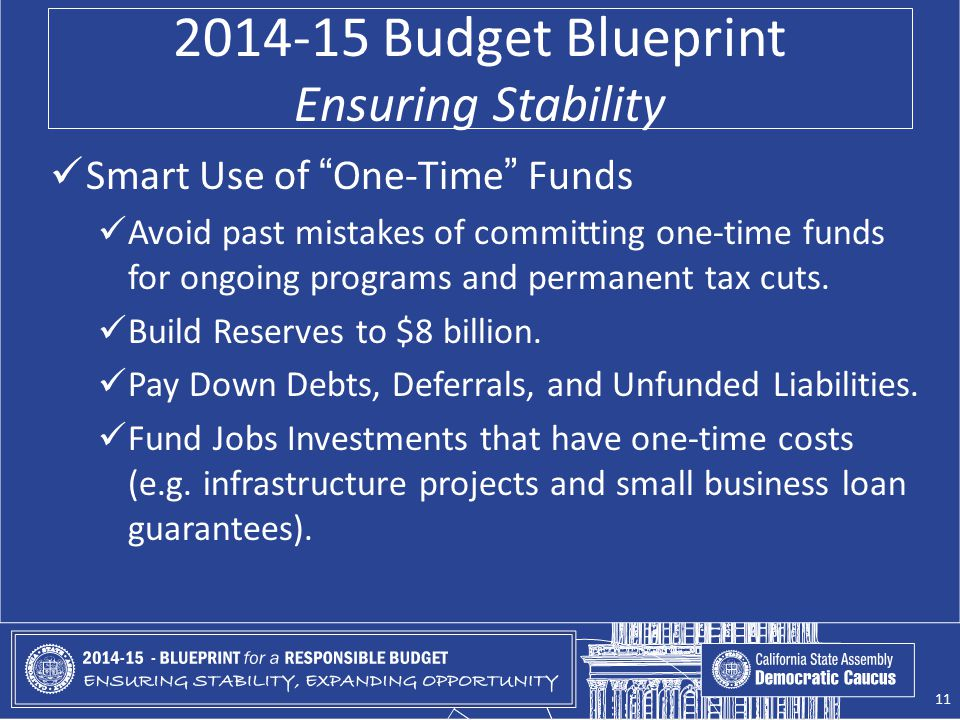 2014-15 Budget Blueprint Ensuring Stability Smart Use of One-Time Funds Avoid past mistakes of committing one-time funds for ongoing programs and permanent tax cuts.