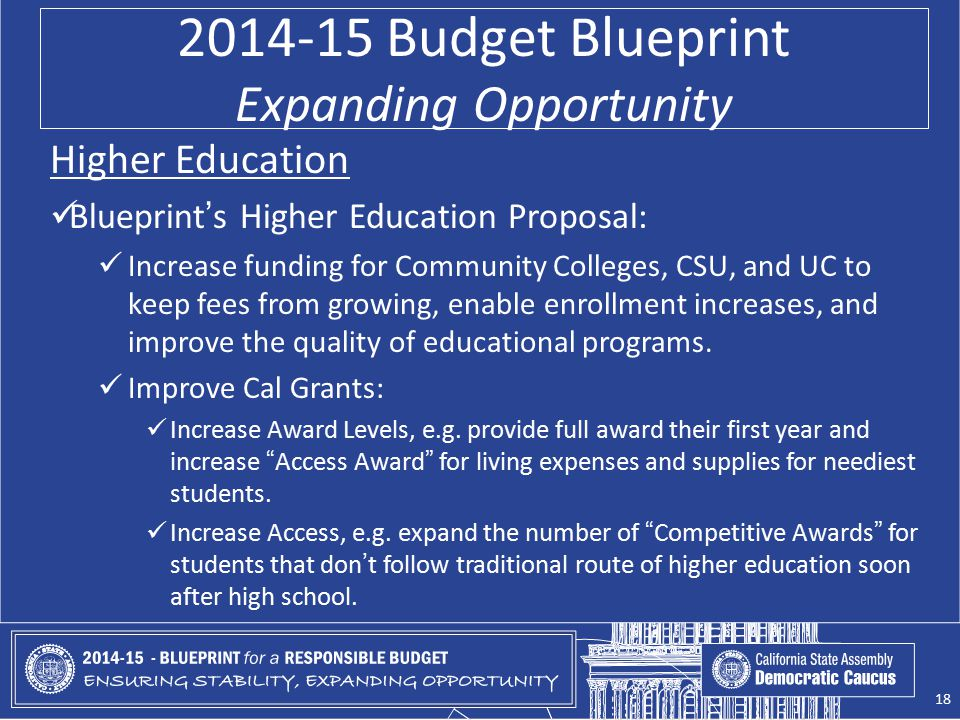 2014-15 Budget Blueprint Expanding Opportunity Higher Education Blueprint's Higher Education Proposal: Increase funding for Community Colleges, CSU, a
