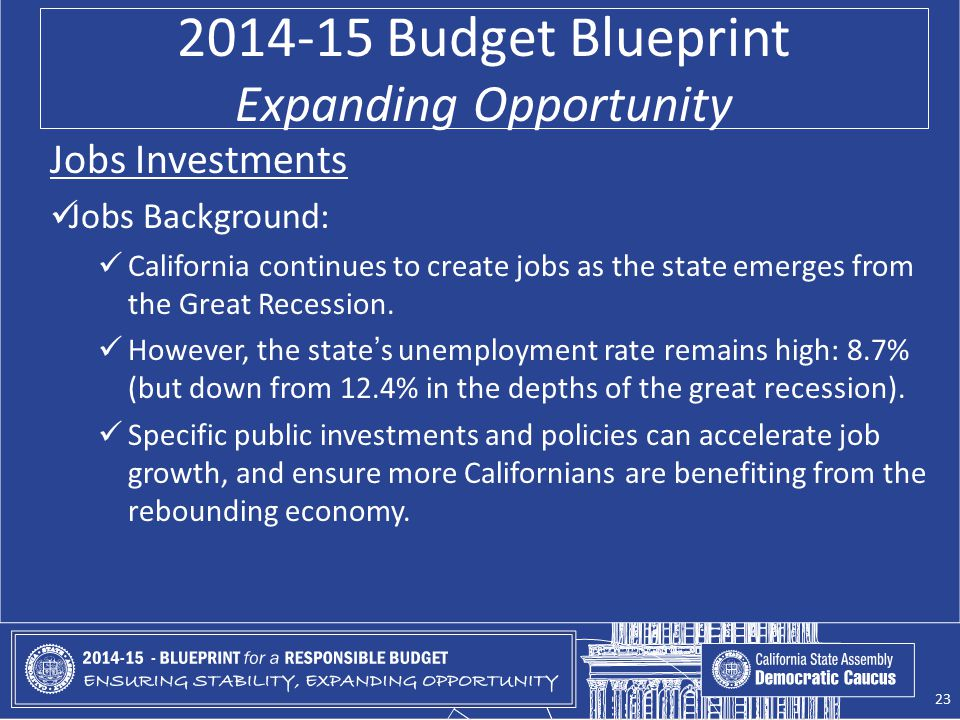 2014-15 Budget Blueprint Expanding Opportunity Jobs Investments Jobs Background: California continues to create jobs as the state emerges from the Great Recession.